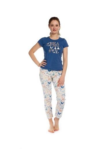 Pamuk & Pamuk Kelebek Desen Kadın Pijama Takım Renkli